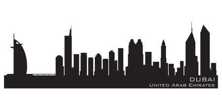 Dubai, Emirates skyline  Detailed silhouette Vector