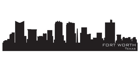 Fort Worth, Texas skyline  Detailed silhouette Illustration