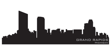 grand rapids: Grand Rapids, Michigan skyline  Detailed silhouette