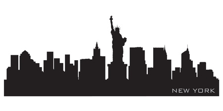 panoramic view: New York skyline  Detailed silhouette