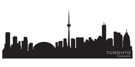 Toronto Canada skyline  Detailed silhouette