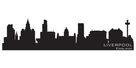 liverpool: Liverpool, England skyline  Detailed silhouette Illustration