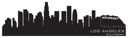 Los Angeles, California skyline  Detailed silhouette