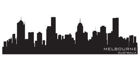 Melbourne, Australia skyline  Detailed silhouette Vector