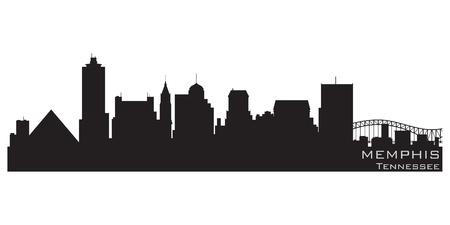 silhouette maison: Memphis, Tennessee horizon silhouette détaillée