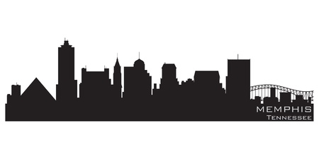 Memphis, Tennessee skyline  Detailed silhouette Vector