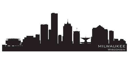outlook: Milwaukee, Wisconsin skyline  Detailed silhouette
