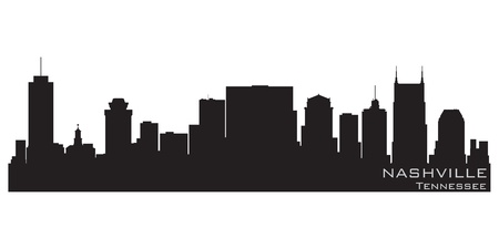 Nashville, Tennessee skyline  Detailed silhouette Vector