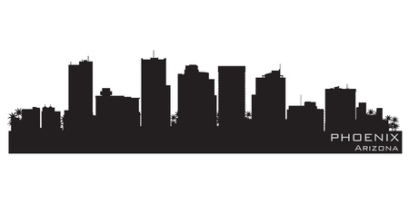 phoenix arizona: Phoenix, Arizona skyline  Detailed silhouette Illustration