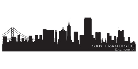 panoramic view: San Francisco, California skyline  Detailed silhouette Illustration