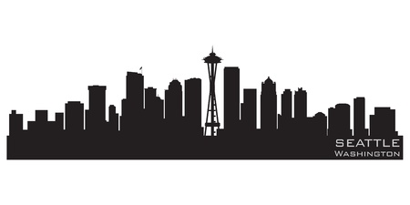 Seattle, Washington skyline  Detailed silhouette