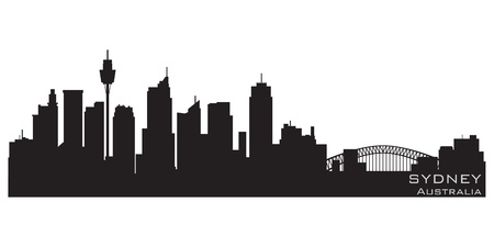 australia landscape: Sydney, Australia skyline  Detailed silhouette