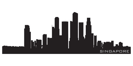 Singapore, Asia skyline  Detailed silhouette Vector