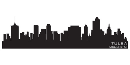 Tulsa, Oklahoma skyline  Detailed silhouette Illustration