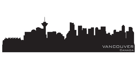 vancouver: Vancouver, Canada skyline  Detailed silhouette Illustration