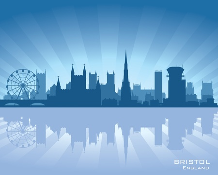Bristol, England skyline with reflection in water Stock Vector - 12875995