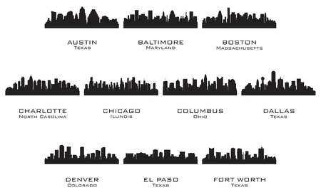 Денвер: Силуэты США cities_1 векторная иллюстрация