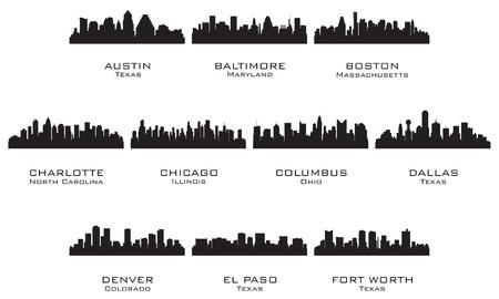 austin: Silhouetten von den USA cities_1 Vector illustration