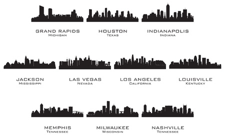 Silhouettes of the USA cities_2  Vector illustration