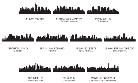 Silhouettes of the USA cities_3  Vector illustration