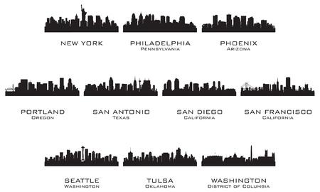 seattle: Siluetas de la ilustraci�n vectorial EE.UU. cities_3