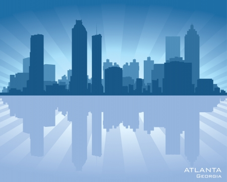 Atlanta, Georgia skyline illustration with reflection in water Vector