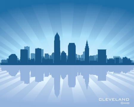 Cleveland, Ohio skyline illustration with reflection in water Illustration