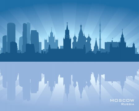 Moscow, Russia skyline illustration with reflection in water Vector