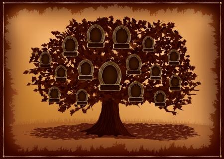 famiglia in giardino: albero genealogico con cornici e foglie posto per il testo Vettoriali