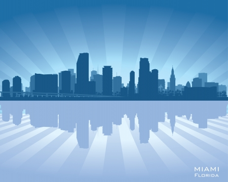 city of miami: Miami, Florida skyline illustration with reflection in water