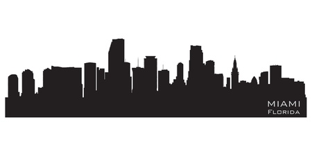 Miami, Florida skyline. Detailed silhouette Illustration