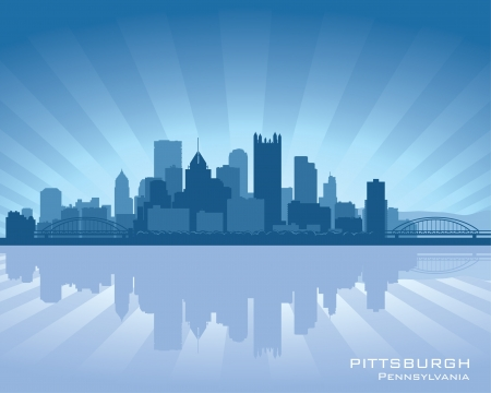 cityscape silhouette: Pittsburgh, Pennsylvania skyline with reflection in water