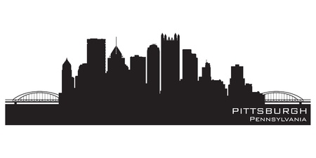 pennsylvania: Pittsburgh, Pennsylvania skyline. Detailed silhouette