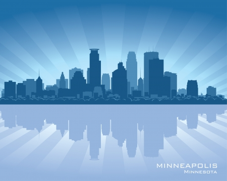 Minneapolis, Minnesota skyline with reflection in water Stock Vector - 14531106