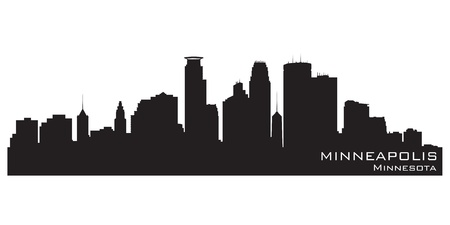 Minneapolis, Minnesota skyline. Detailed silhouette Illustration