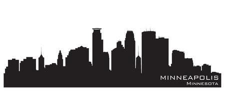 minnesota: Minneapolis, Minnesota skyline. Detailed silhouette Illustration