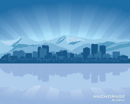 Anchorage, Alaska skyline illustration with reflection in water Vector