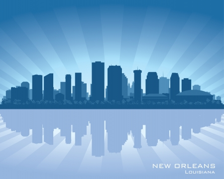 new orleans: New Orleans, Louisiana skyline illustration with reflection in water