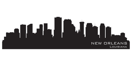 new orleans: New Orleans, Louisiana skyline. Detailed silhouette
