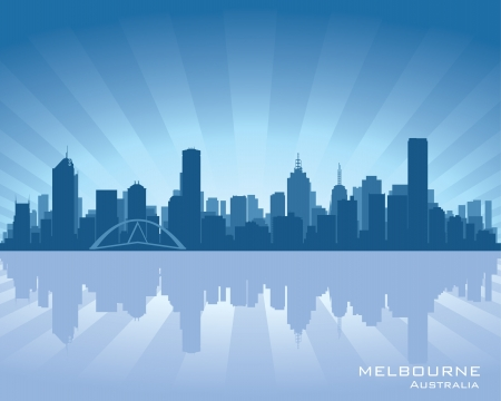 Melbourne, Australia skyline illustration with reflection in water Vector