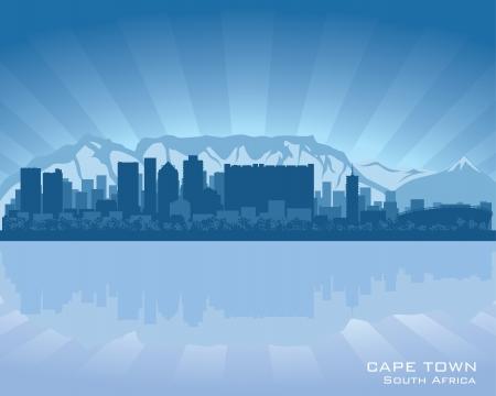 Cape Town, South Africa Skyline Illustration mit Reflexion in Wasser
