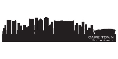 city view: Cape Town, South Africa skyline. Detailed vector silhouette