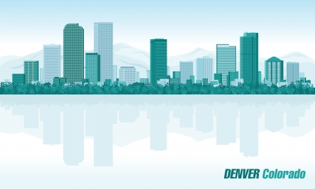 Denver Colorado detailed  skyline Vector