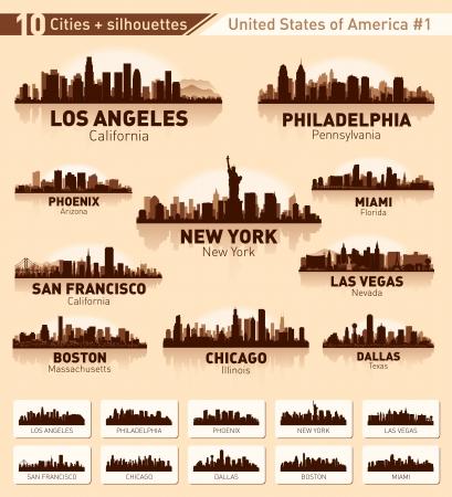 필라델피아: 스카이 라인의 도시를 설정합니다. 미국 # 1 10 도시 일러스트