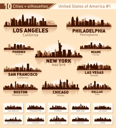 silhouette america: Skyline city set. 10 cities of USA #1 Illustration