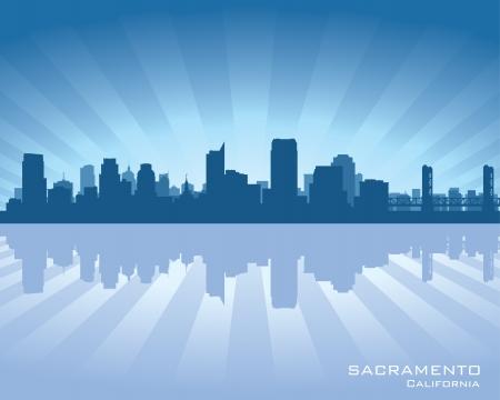 Sacramento, California skyline illustration with reflection in water Stock Vector - 15120075