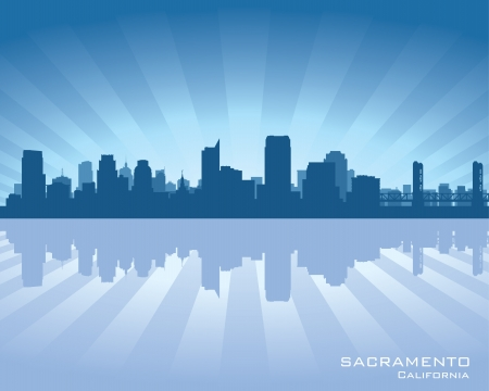 sacramento: Sacramento, California skyline illustration with reflection in water Illustration