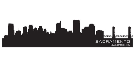 sacramento: Sacramento, California skyline. Detailed vector silhouette