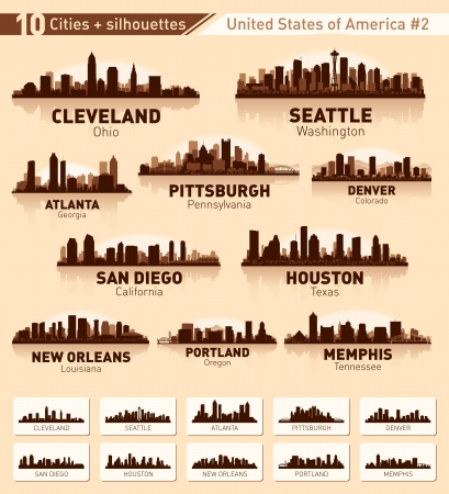 Skyline city set. 10 cities of USA #2 Stock Vector - 15120077
