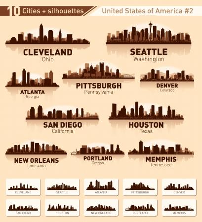 seattle: Skyline ciudad asentada. 10 ciudades de EE.UU. # 2 Vectores